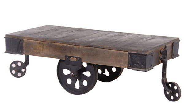 Trojan Industrial Cart Reclaimed Wood Coffee Table On Metal Wheels,  Alexander U0026 Pearl