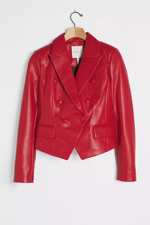 Phoenix Cropped Faux Leather Jacket Anthropologie Cropped Faux Leather Jacket Red Leather Blazer Leather Jacket [ 1500 x 1000 Pixel ]