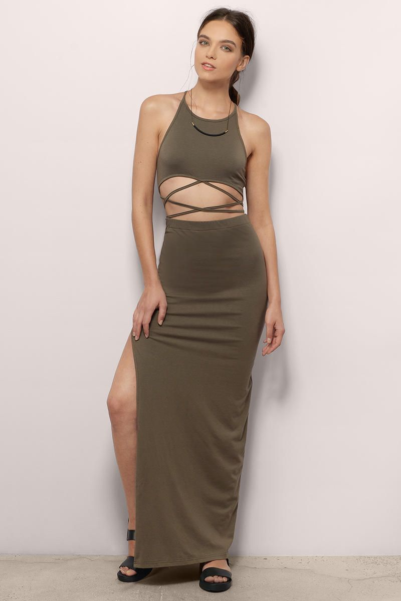 Halter neck maxi dress with open mid cutout with strappy crisscross