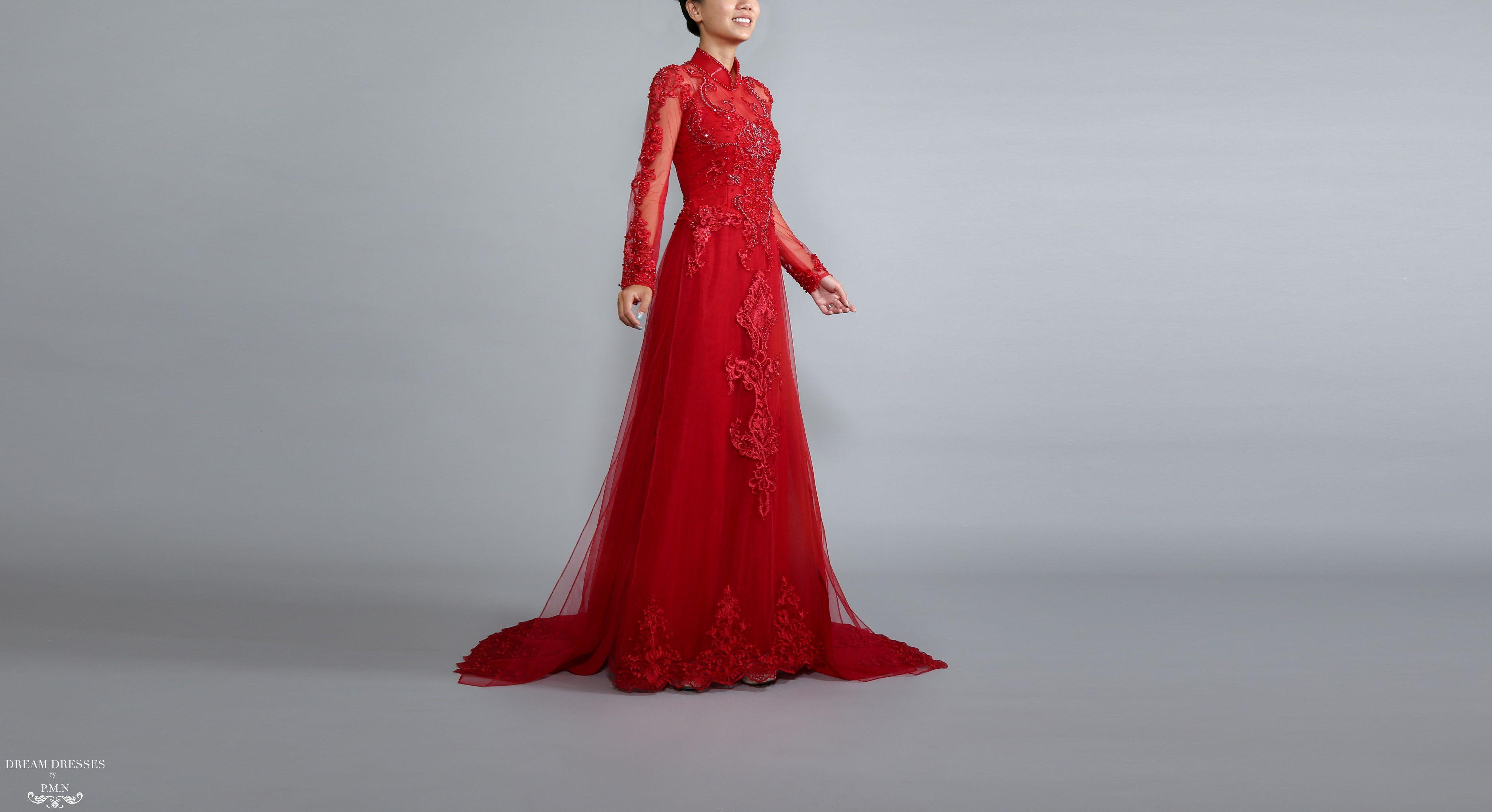 Red Ao Dai Vietnamese Lace Bridal Dress (TALIN