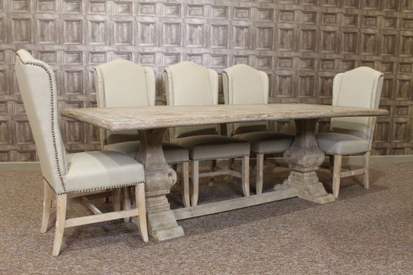 A Fabulous Cream Studded Dining Chair Covered In High Quality Linen