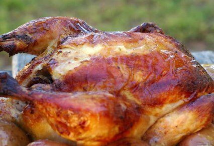 Moist and delicious roast chicken.