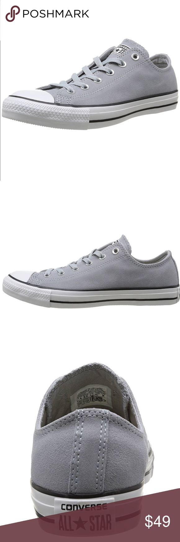 1d5e0c2af4b Worn 1x too big these run 1 2 size large Converse Shoes Sneakers. Suede Converse  Gray Converse Chuck Taylor All Star Low Top Lucky Excellent used condition  ...
