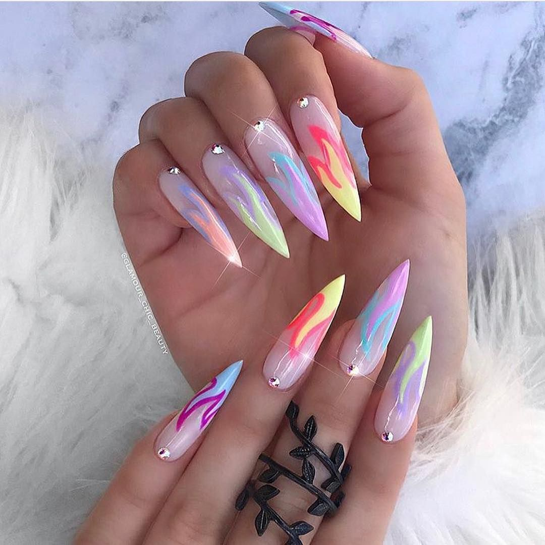 The Baddest Nails On Instagram Which Flame Set Flames Flamenails Nailart Tampan Stiletto Nails Designs Neon Nails Acrylic Nail Shapes