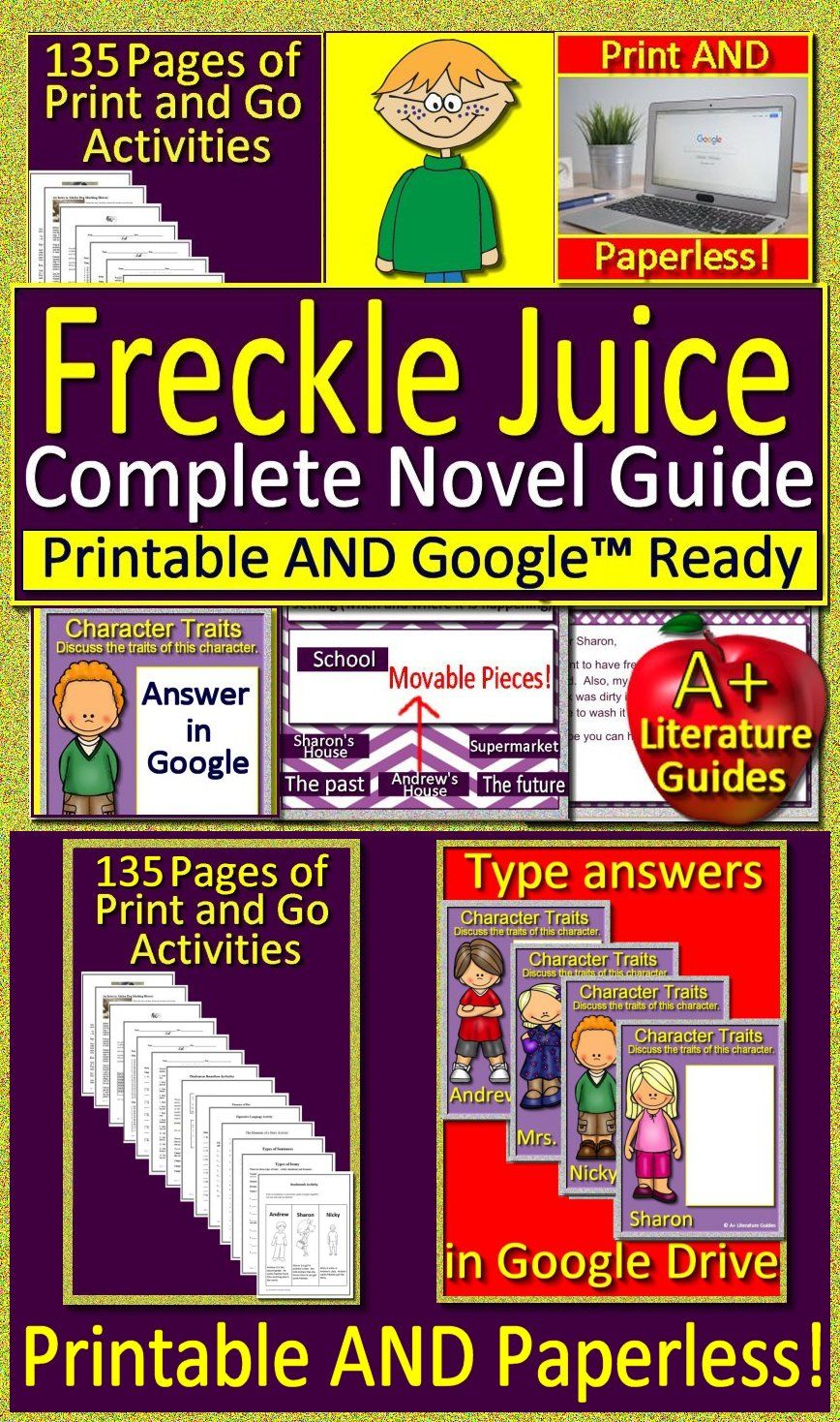 Freckle Juice Distance Learning Novel Study Printable And Google