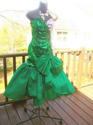 13ab14a6648d2 Vintage 80s Mermaid Green Sequin Prom Party Dress Wild Child Glamour ...