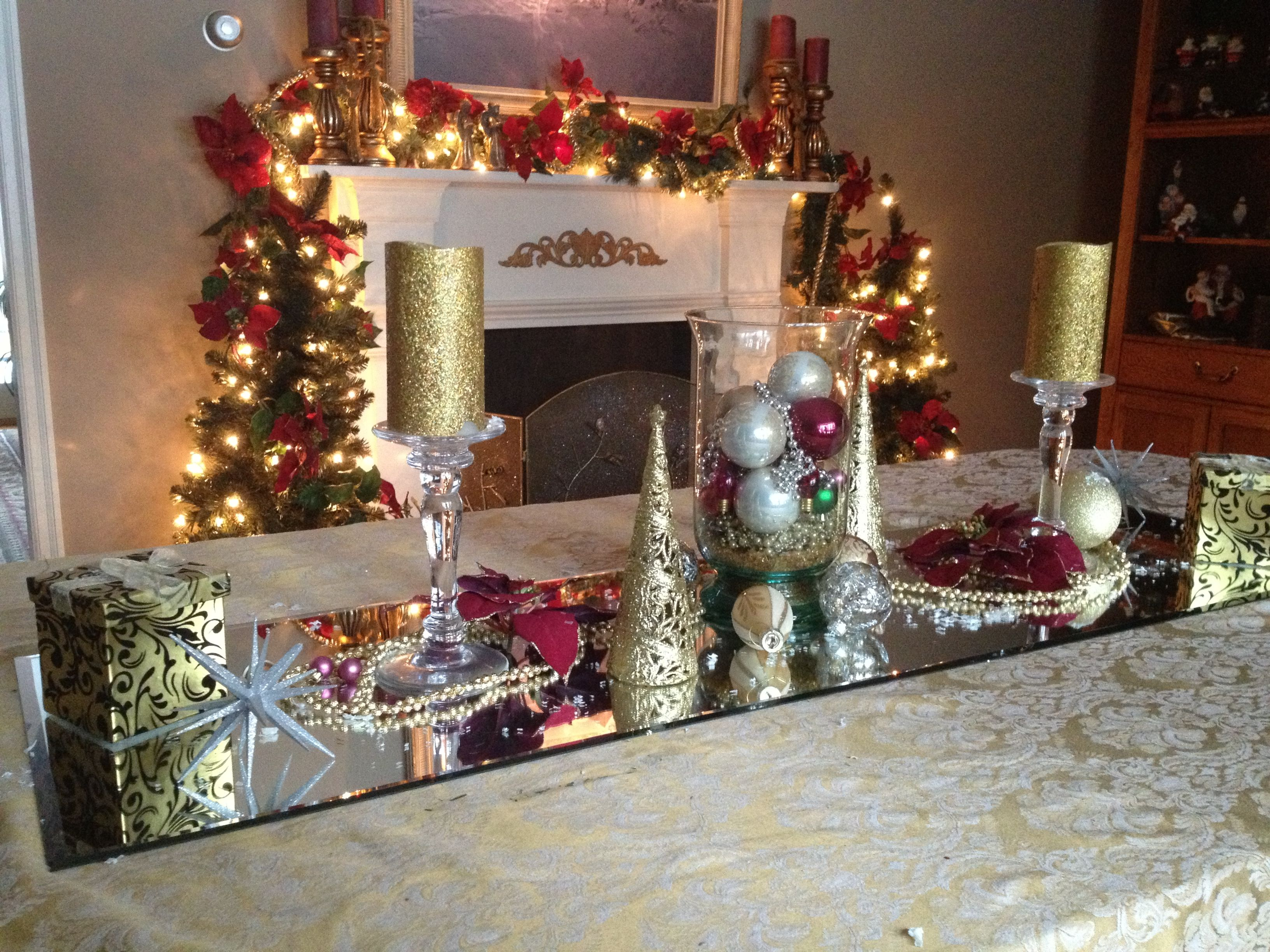 Christmas Table Using A Door Mirror And Decorations You Already Have Christmas Table Christmas Decorations Decor