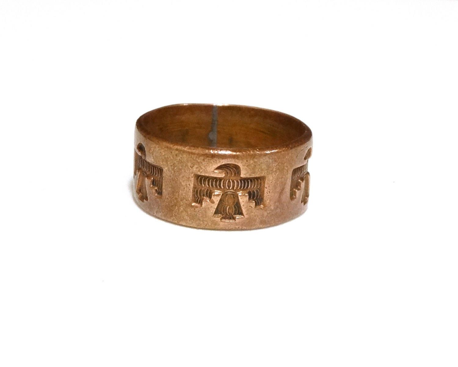 Vintage solid copper mens ring band w stamped eagles native american
