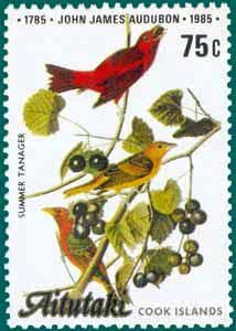 Aitutaki (1985), SG # 520, Sc # 370, Summer Tanager (Piranga rubra), Audubon Plate-394