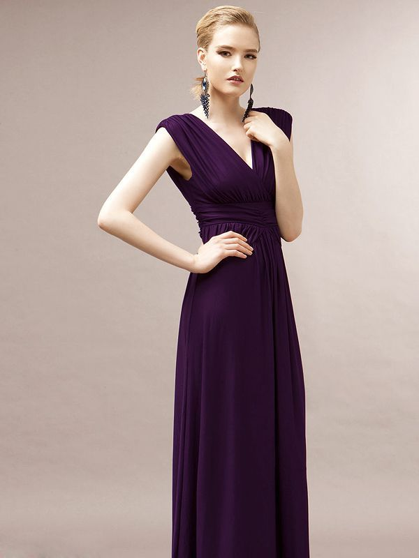 Purple/Black V Neck Plain Maxi Dress