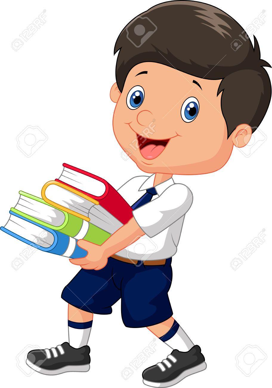 Nino De Dibujos Animados Con Una Pila De Libros Ninos En La Escuela Ninos Escolares Ninos Dibujos Animados