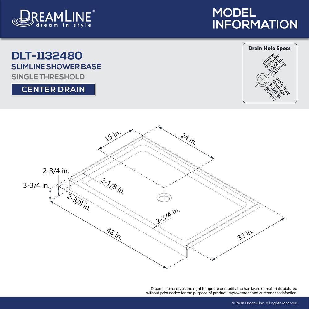 Dreamline Slimline 48 In W X 32 In D Single Threshold Shower