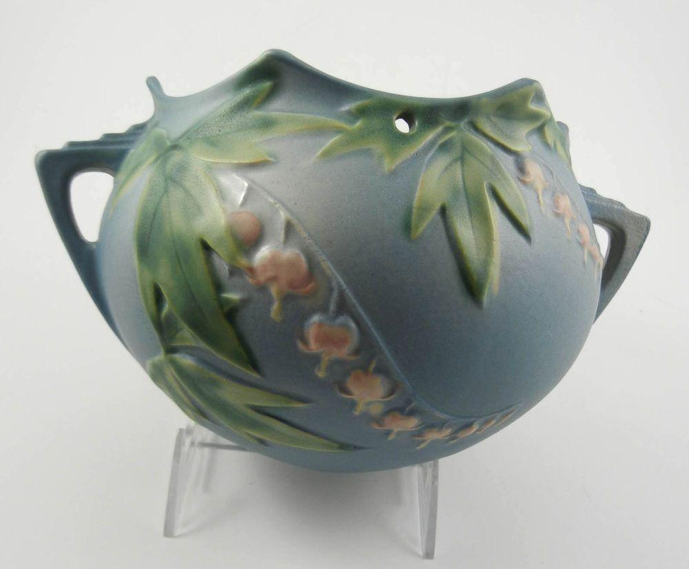 """Roseville Bleeding Heart 362-5"""" Blue Vintage Art Pottery Hanging Planter Basket #Roseville"""