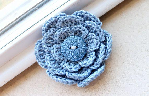 Blue Crochet Flower Hair Clip Toddler Girl Baby By Jenta2b 450