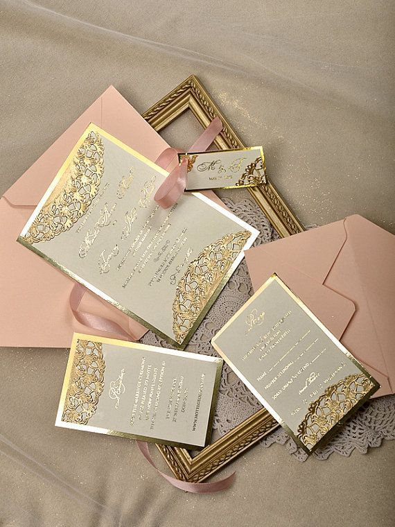custom listing 20 gold and peach wedding forlovepolkadots - Blush And Gold Wedding Invitations