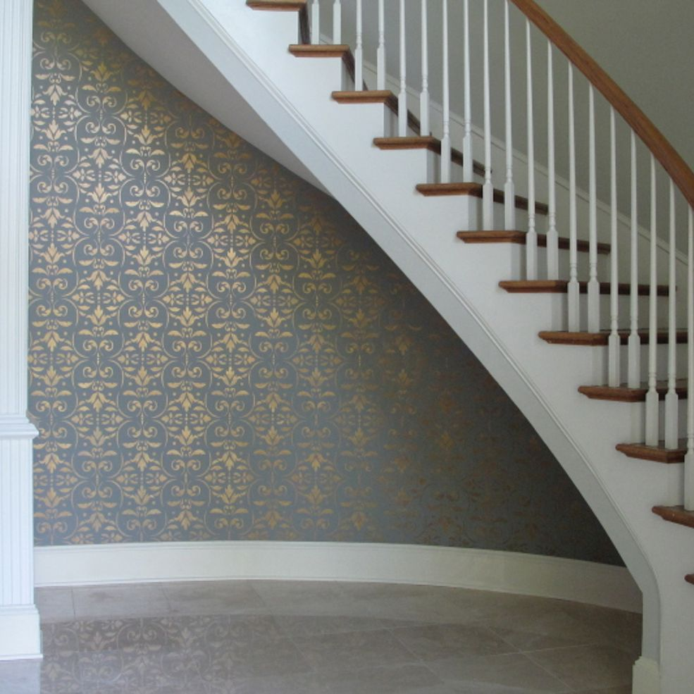 Paint Or Wallpaper Yes This Project Is Painted Stairs Home Entryway Inspiration