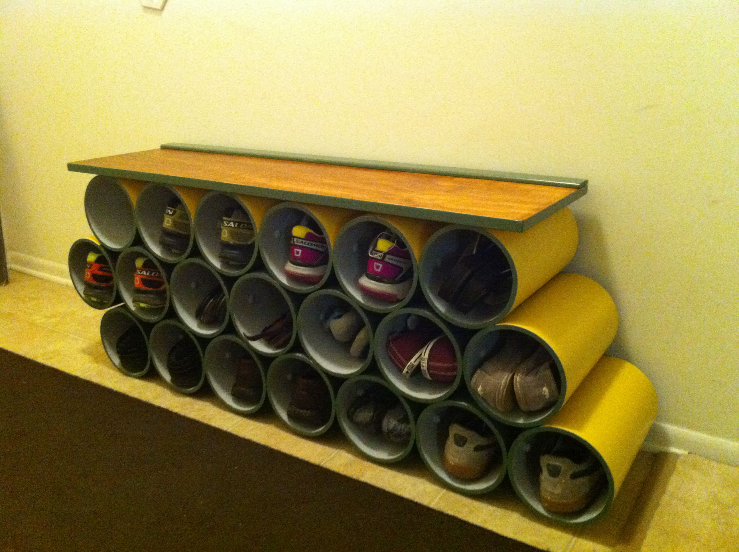 """PVC shoe rack made with 8"""" pipe I like the rack on the top"""
