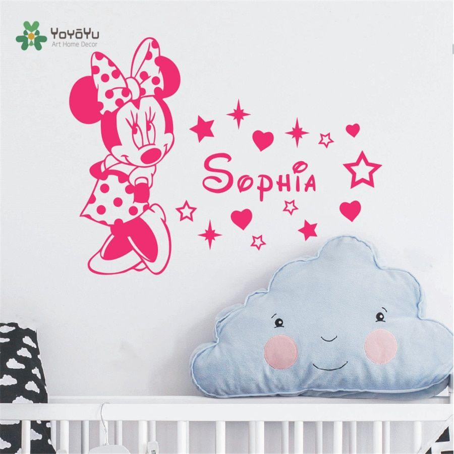 Nursery Minnie Mouse Wall Sticker Children Kids Room Light Switch Wall Vinyl Decal Home Decor Cute Minnie Switch Removable Murals Wall Décor