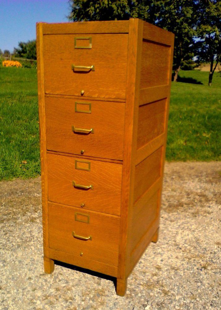 Antique Legal 4 Drawer FILE CABINET Globe Wernicke Quarter Sawn Tiger Oak C  1925 #AntiqueOfficeDecor - Antique Legal 4 Drawer FILE CABINET Globe Wernicke Quarter Sawn