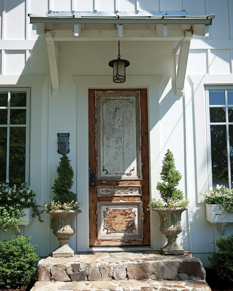 Rugged Stone White Board And Batten And A Gorgeous Antique Door When Can We Come Over In 2020 House Exterior House Designs Exterior French Cottage
