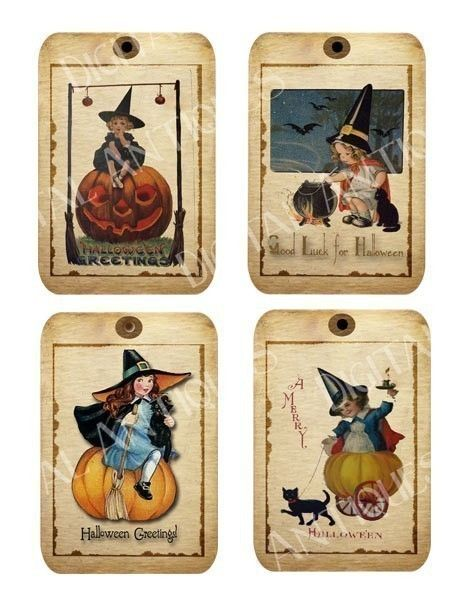Halloween Tags Little Witches Vintage Digital by DigitalAntiques