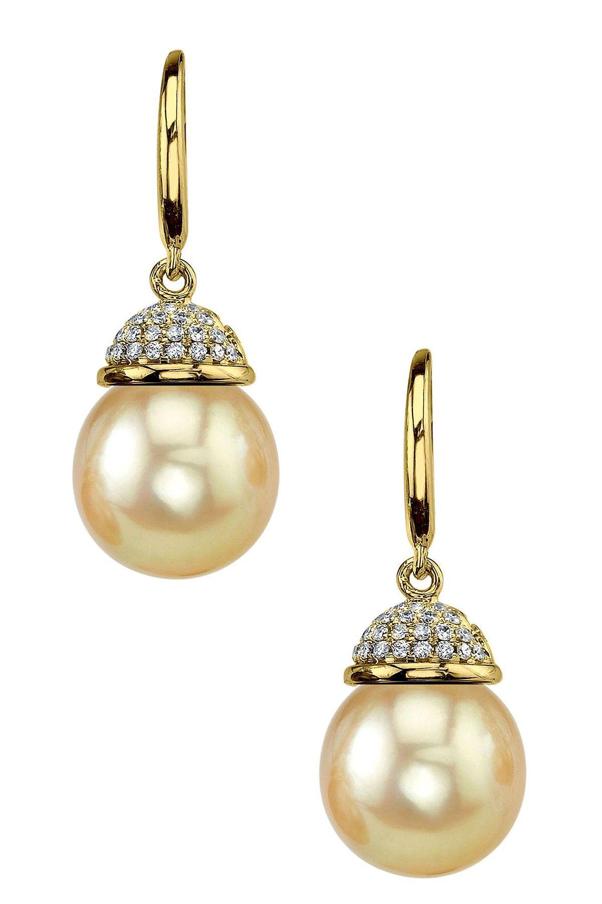 18K Yellow Gold 9mm Golden South Sea Pearl & Diamond Earrings - 0.07 ctw