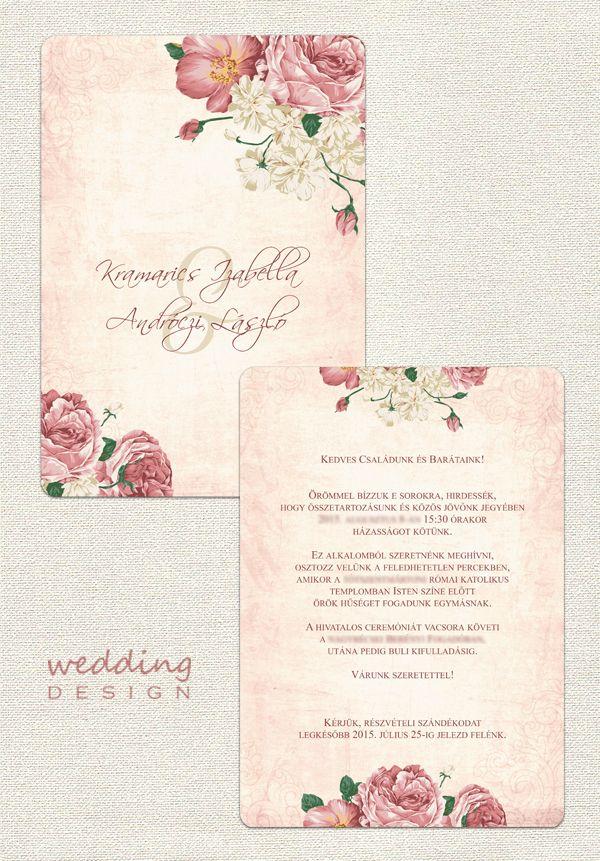 ab672009d7 Pretty vintage invitation card with flowers - Csodás vintage esküvői meghívó  virágokkal Graphic/Grafika: Wedding Design