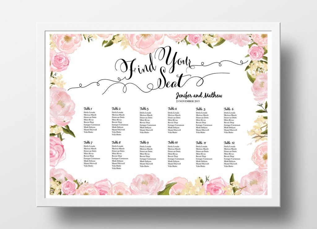 Seating Chart Printable template Peony Pink Make your
