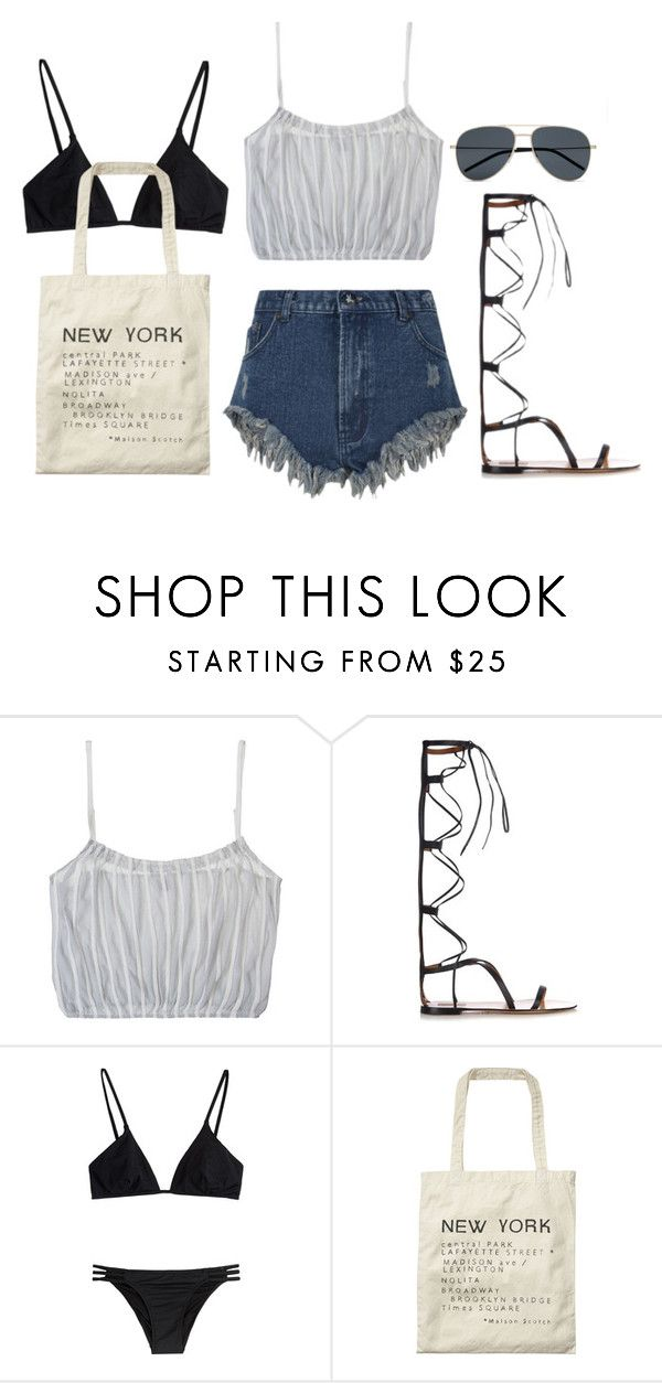 """""""Untitled #3658"""" by lily-tubman ❤ liked on Polyvore featuring Only Hearts, Valentino, Melissa Odabash, Scotch & Soda, Yves Saint Laurent, women's clothing, women's fashion, women, female and woman"""