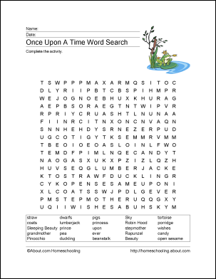 free fairy tales printables word search literacy and vocabulary worksheets. Black Bedroom Furniture Sets. Home Design Ideas