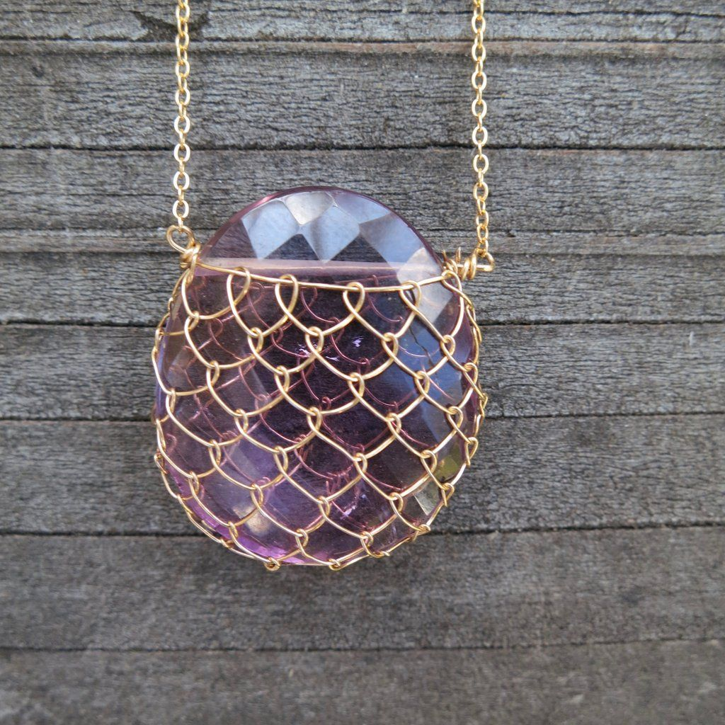 Amethyst/Gold-Fill Fishnet Gemstone Necklace   Fishnet, Amethysts ...