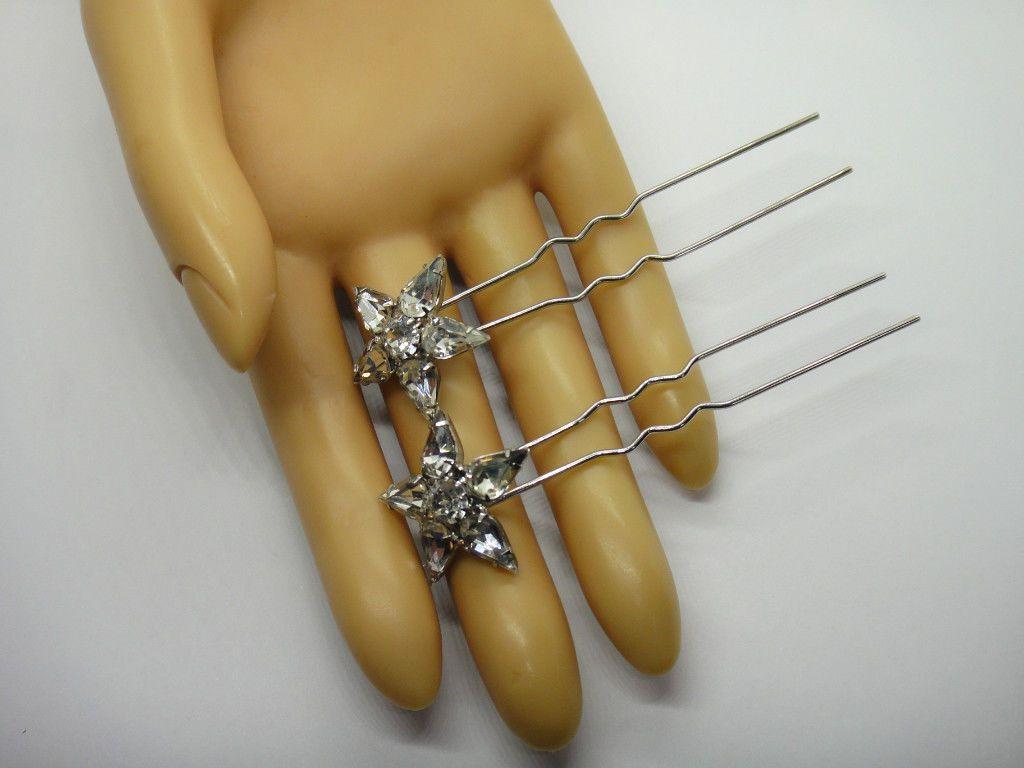 Pair 2 Vintage Silver Tone Crystal Rhinestone Star design Fashion Hair Pin pick | eBay
