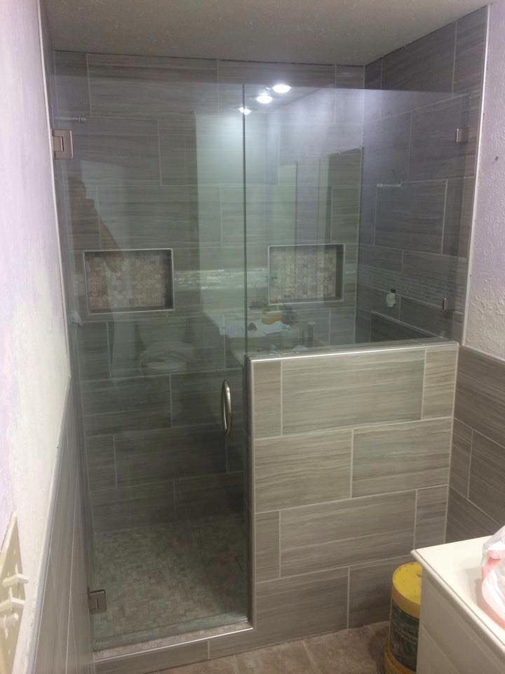 Frameless With Door Buttress Panel Brushed Nickel