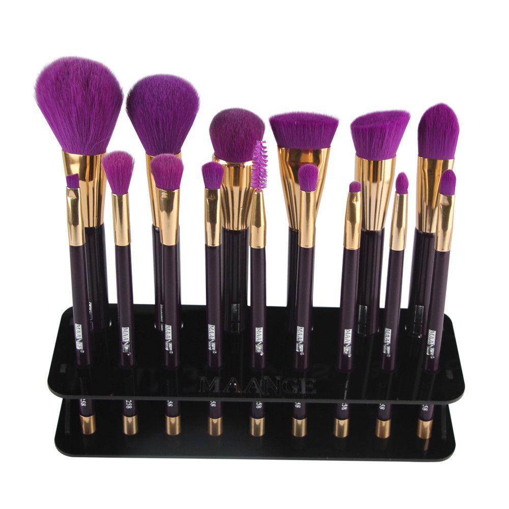 1PC Makeup Brush Holder Drying Rack 15 Hole Square Plastic Makeup Brush Holder Drying Rack Organizer Cosmetic Shelf Tool