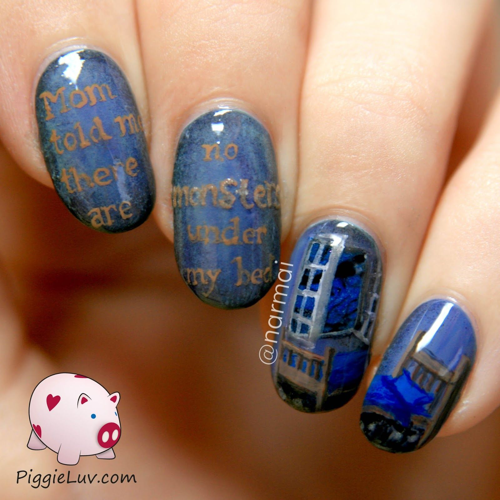 Monsters under the bed, glow in the dark nail art!   Dark nail art ...