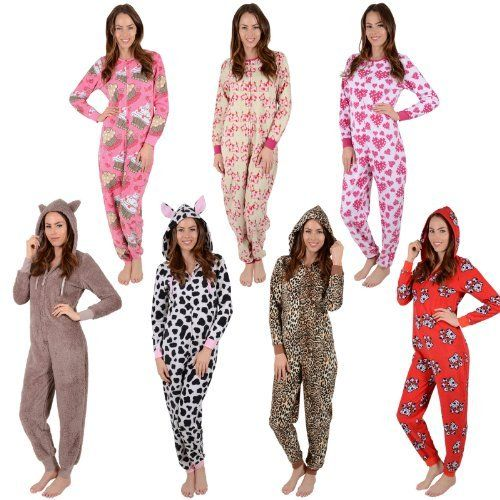 ONEZEE Girls Leopard Print Animal Hooded Jumpsuit Sleepsuit Nightwear Pyjamas