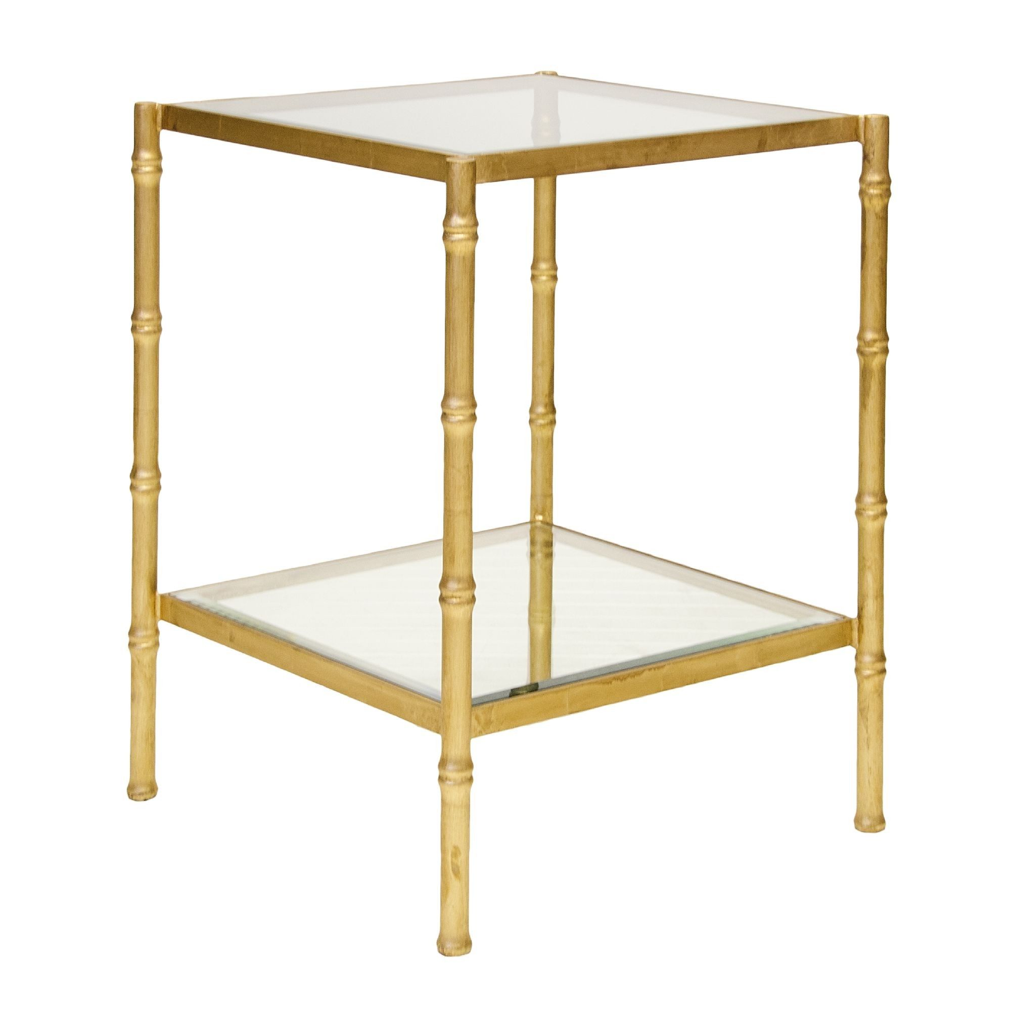 Great Worlds Away Serena Gold Leaf Bamboo Side Table With Clear Glass Tops