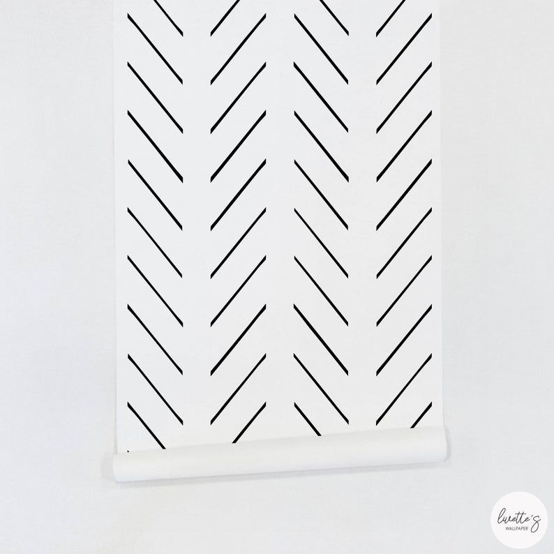 Modern Delicate Herringbone Wallpaper In Black And White Etsy In 2021 Herringbone Wallpaper Nursery Wallpaper Removable Wallpaper