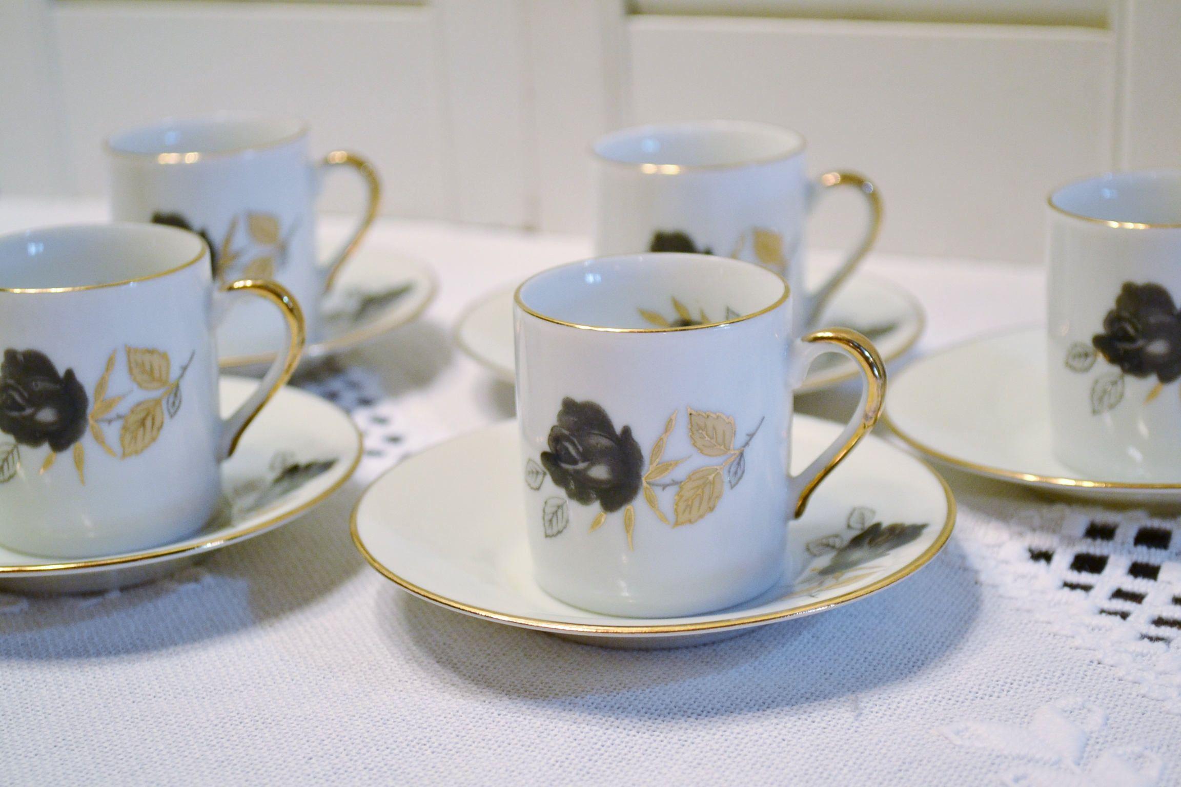 Vintage Demitasse Espresso Cup Set of 6 Black and Gold Rose Design ...
