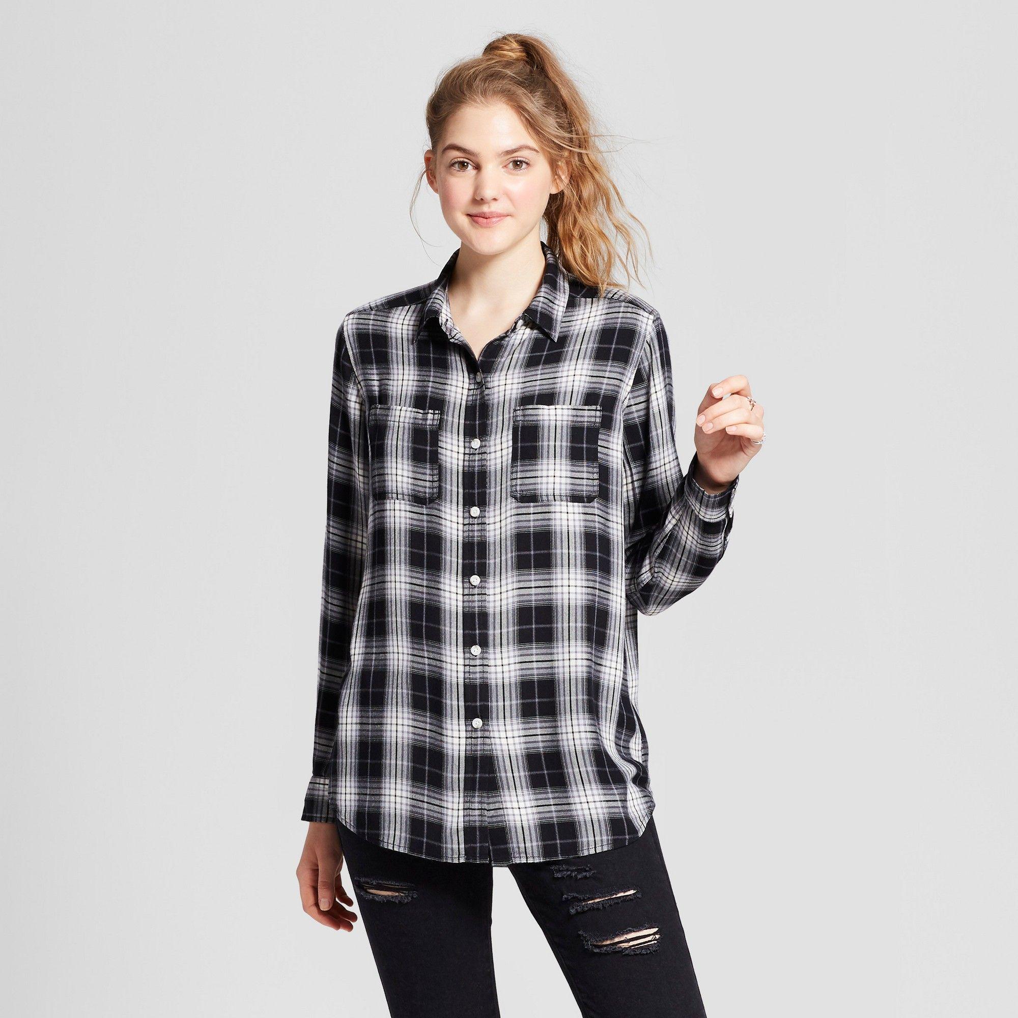 Women s Boyfriend Button Down Shirt - Mossimo Supply Co. Black Xxl ... 336a6d32fd