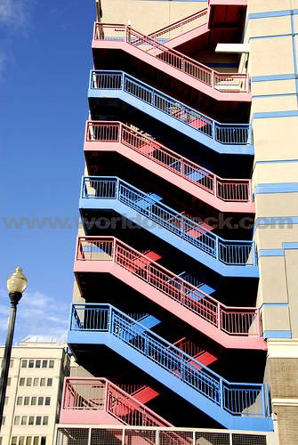 Stock Photo Titled: Pattern Of Colorful Stairs On A Exterior Fire Escape  System, Unlicensed