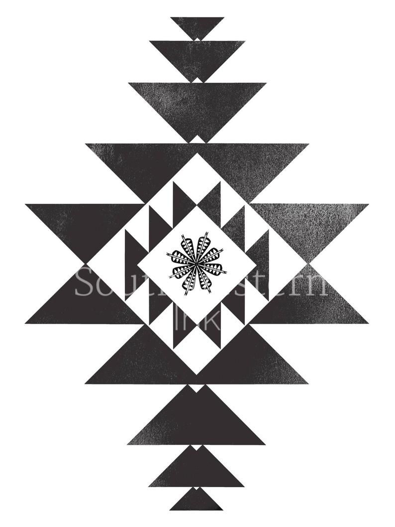 Boho southwestern wall art black aztec print in 2020