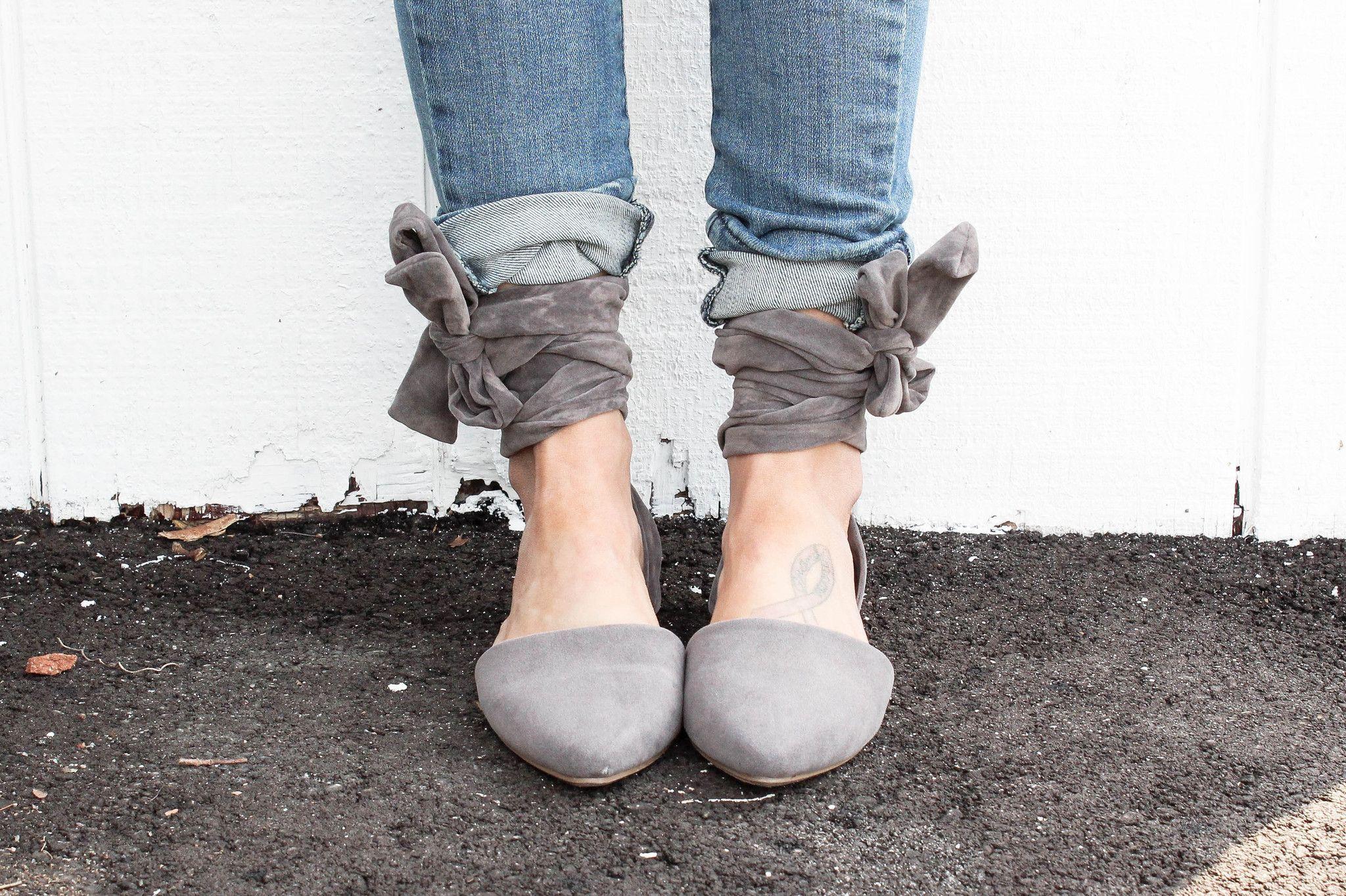 Gray Suede Tie Up Flats