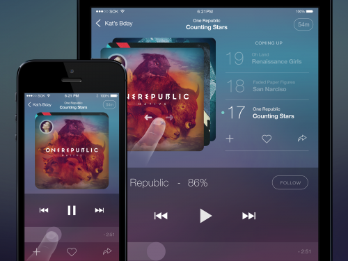 Awesome Music Player App for iOS PSD file. Music Player