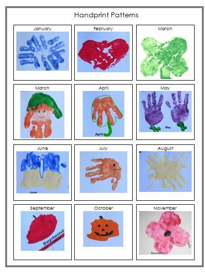 Calendar Handprint Art : Handprint calendar template printable