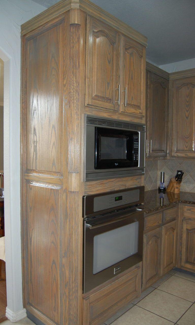 Refinish dated oak cabinets   Oak kitchen cabinets, Oak ...