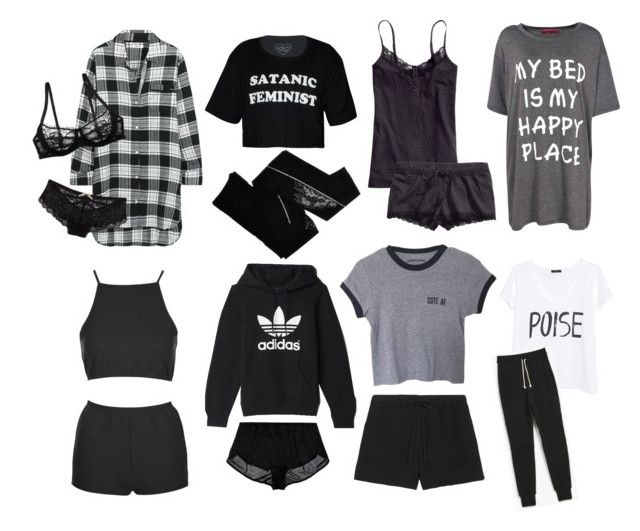 """""""sleepwear"""" by tvd-nour ❤ liked on Polyvore featuring DKNY, Boohoo, H&M, Wet Seal, Only Hearts, adidas, MANGO, John Elliott + Co, ZOHARA and Topshop"""