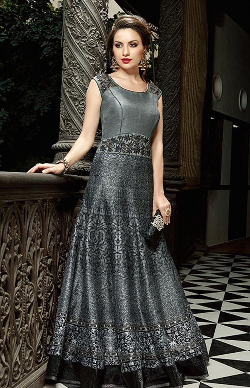 62301a00c0bc Grey and Black Wedding Wear Indo-Western Gown Anarkali Style ...