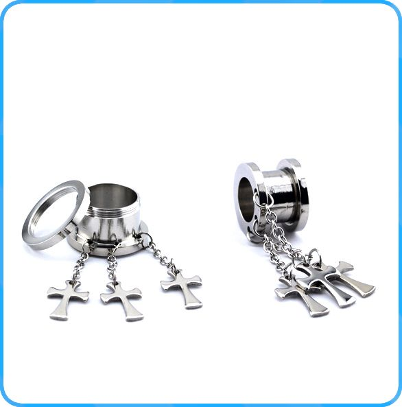 TP01189 wholesale body piercing stainless steel dangling cross ear flesh tunnel