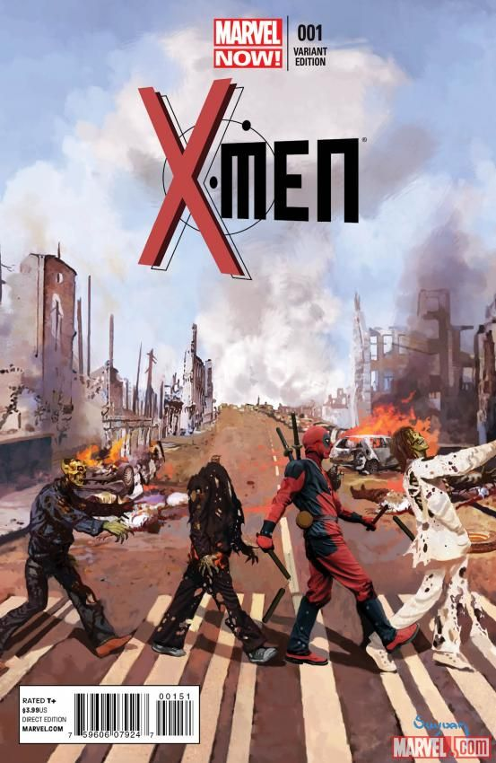 Deadpool pays homage to rock history in Arthur Suydam's variant cover for Brian Wood and Olivier Coipel's X-Men #1! Which member of the team would you like to see beat up Deadpool? http://marvel.com/news/story/20572/sneak_peek_x-men_1_deadpool_variant